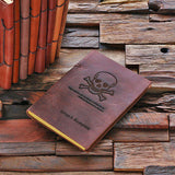 Personalized Leather Notebook Journal - Skull & Crossbones - Rion Douglas Gifts - 1