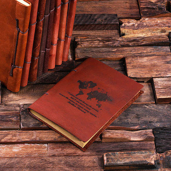 Personalized Leather Notebook Journal - World - Rion Douglas Gifts - 1