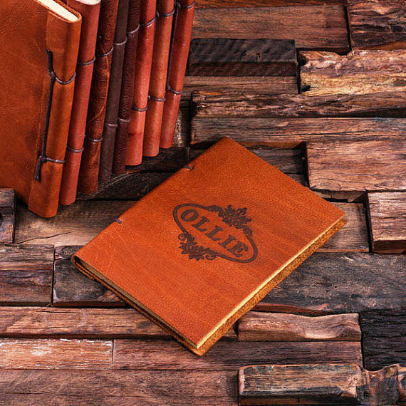 Personalized Leather Notebook Journal - Ollie - Rion Douglas Gifts - 1