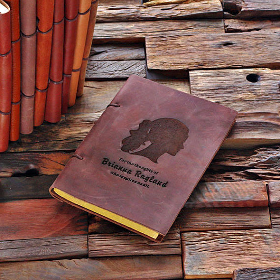 Personalized Leather Notebook Journal - Girl's Face - Rion Douglas Gifts - 1