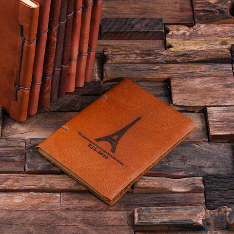Personalized Leather Notebook Journal - Eiffel - Rion Douglas Gifts - 1