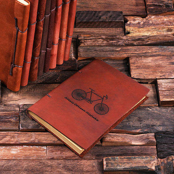 Personalized Leather Notebook Journal - Bicycle - Rion Douglas Gifts - 1