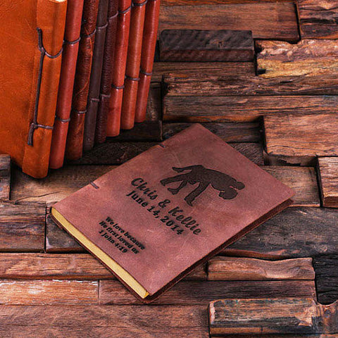 Personalized Leather Notebook Journal - Couple Dipping - Rion Douglas Gifts - 1