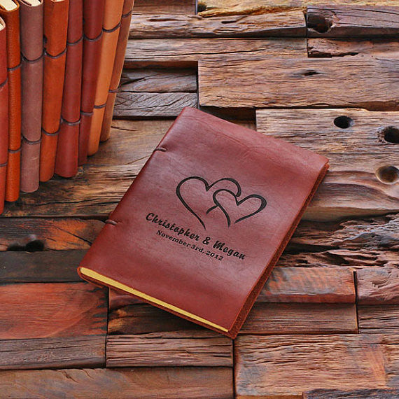 Personalized Leather Notebook Journal - Hearts - Rion Douglas Gifts - 1