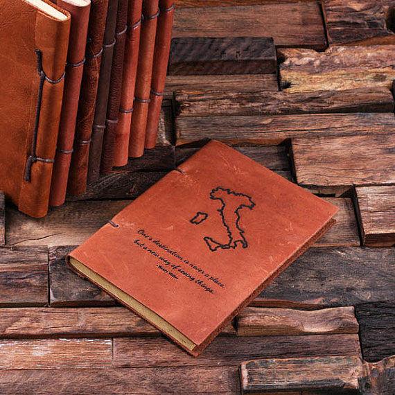 Personalized Leather Notebook Journal - Italy - Rion Douglas Gifts - 1