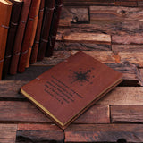 Personalized Leather Notebook Journal - Compass - Rion Douglas Gifts - 1