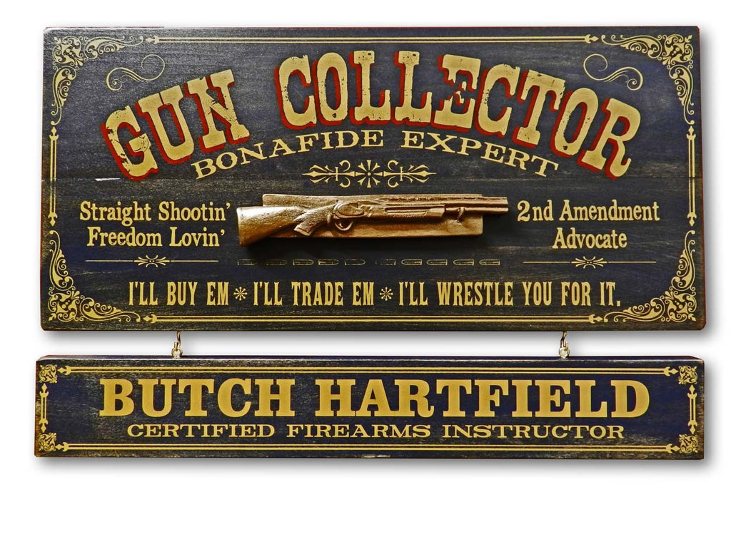 Gun Collector Personalized Bar Occupational Sign