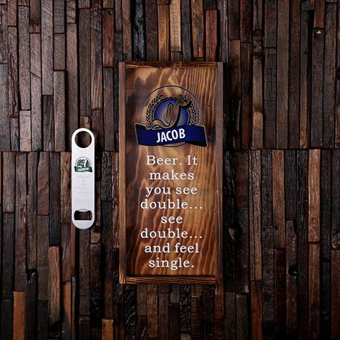Personalized Small Beer Cap Holder Shadow Box with FREE Bottle Opener - Rion Douglas Gifts - 1