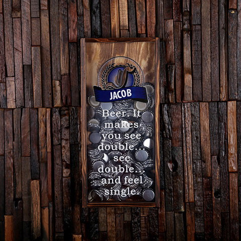 Personalized Small Beer Cap Holder Shadow Box With Bottle