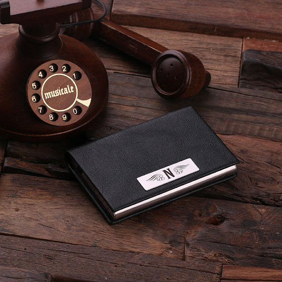 Leather Business Card Holder with Wood Gift Box - Brown or Black - Rion Douglas Gifts - 4