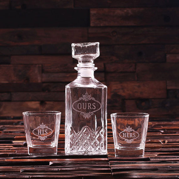 Personalized Whiskey Decanter with 2 Whiskey Glasses - Rion Douglas Gifts - 1