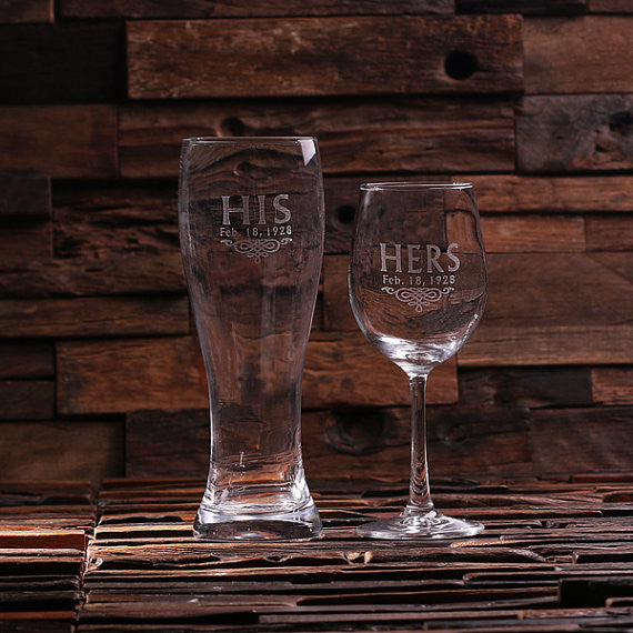 His and Hers Wine Glass and Beer Glass - Rion Douglas Gifts - 1