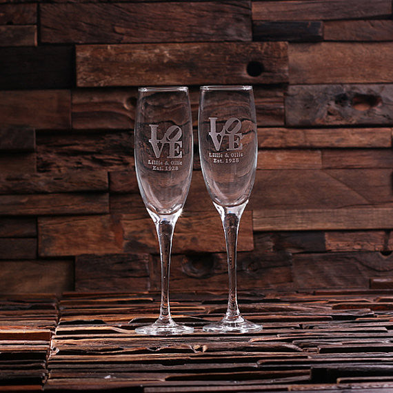 His and Hers Champagne Glasses - Rion Douglas Gifts - 1