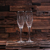 His and Hers Champagne Glasses with Wooden Gift Box - Rion Douglas Gifts - 2