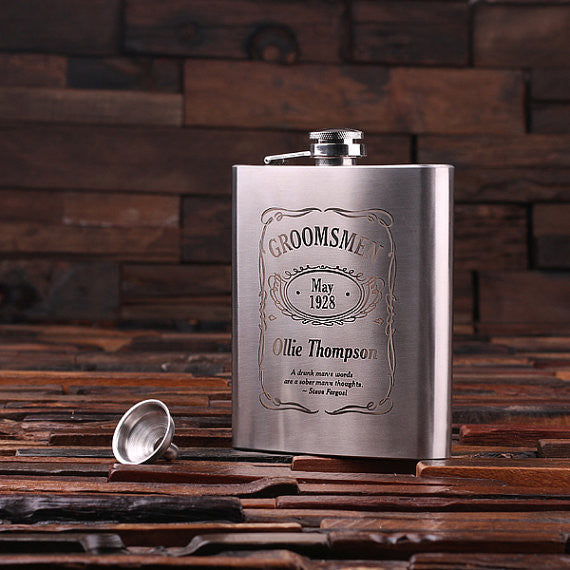 Personalized Stainless Steel Flask – 18 oz. with Wooden Gift Box - Rion Douglas Gifts - 1