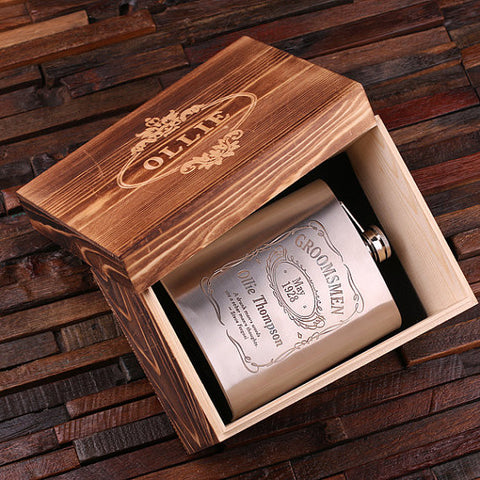 Personalized Stainless Steel Flask – 18 oz. with Wooden Gift Box - Rion Douglas Gifts - 11