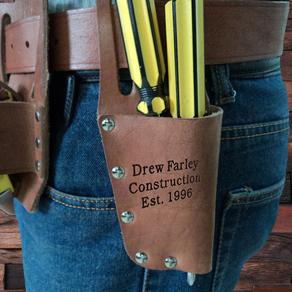 Engraved Cow Leather Tool Belt - Rion Douglas Gifts - 1