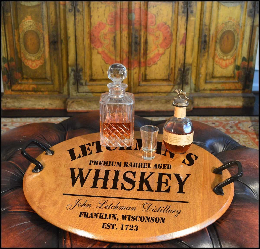 Whiskey Design Barrel Head Serving Tray - Rion Douglas Gifts - 1