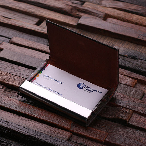 Leather Business Card Holder with Wood Gift Box - Brown or Black - Rion Douglas Gifts - 6
