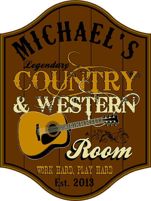Country & Western Room Personalized Wooden Sign - Rion Douglas Gifts - 1