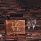 His and Hers Champagne Glasses with Wooden Gift Box - Rion Douglas Gifts - 1