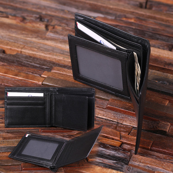Personalized Valentine's Day Engraved Men's Leather Wallet Black or Brown w/Metal Gift Card & Wood Box - Rion Douglas Gifts - 8
