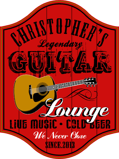 Guitar Lounge Personalized Wooden Sign - Rion Douglas Gifts - 1