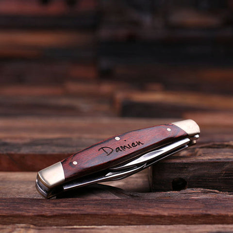 Personalized 3 Blade Pocket Knife with Optional Wood Box - Rion Douglas Gifts - 1