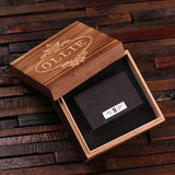 Leather Business Card Holder with Wood Gift Box - Brown or Black - Rion Douglas Gifts - 1