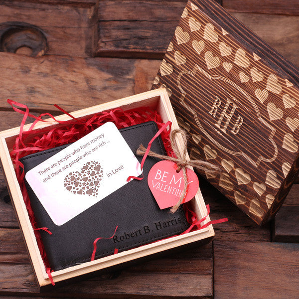 Personalized Valentine's Day Engraved Men's Leather Wallet Black or Brown w/Metal Gift Card & Wood Box - Rion Douglas Gifts - 1