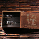 His and Hers Champagne Glasses with Wooden Gift Box - Rion Douglas Gifts - 3