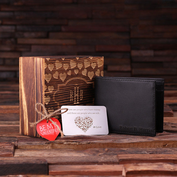 Personalized Valentine's Day Engraved Men's Leather Wallet Black or Brown w/Metal Gift Card & Wood Box - Rion Douglas Gifts - 3