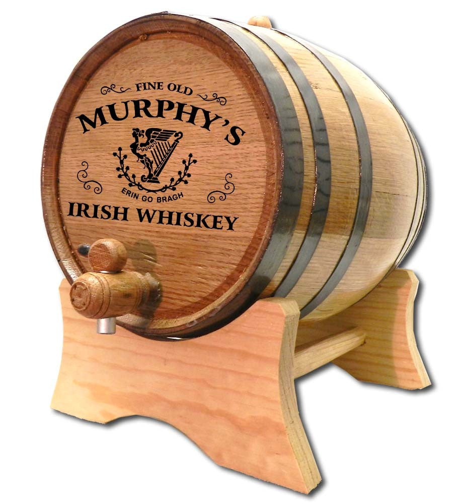 Celtic Harp Whiskey Personalized Oak Barrel