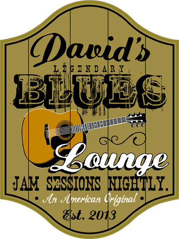 Blues Lounge Personalized Wooden Sign - Rion Douglas Gifts - 1