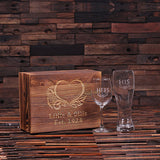His and Hers Wine Glass and Beer Glass With Wood Gift Box - Rion Douglas Gifts - 1