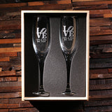 His and Hers Champagne Glasses with Wooden Gift Box - Rion Douglas Gifts - 4