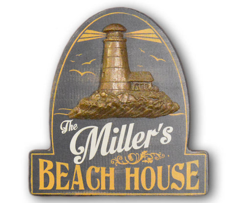 Beach House Wooden Sign with Relief - Rion Douglas Gifts - 1