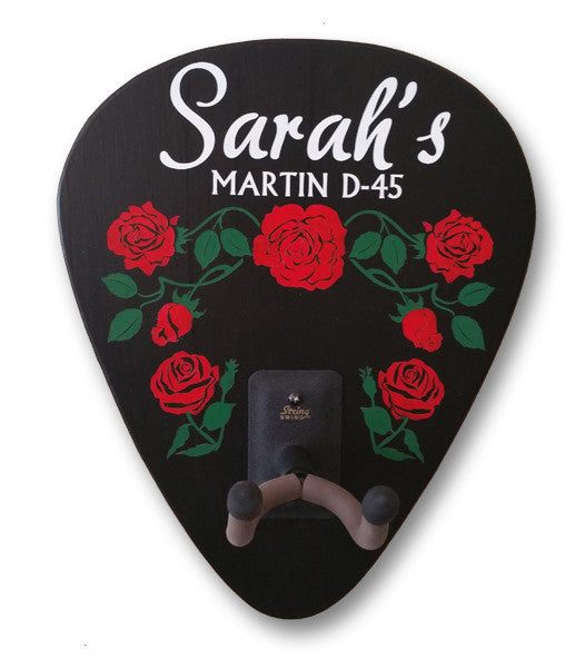 Roses Personalized Guitar Holder - Rion Douglas Gifts - 1