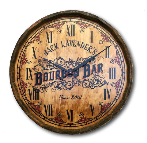 Bourbon Bar Personalized Quarter Barrel Clock - Rion Douglas Gifts - 1