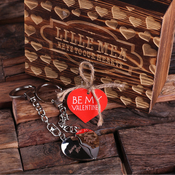 Valentine's Day Double Heart Key Chains with Wood Gift Box - Rion Douglas Gifts - 1