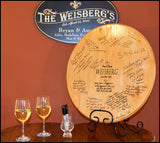 Wedding Signature Personalized Barrel Head w/ Iron Stand - Rion Douglas Gifts - 1