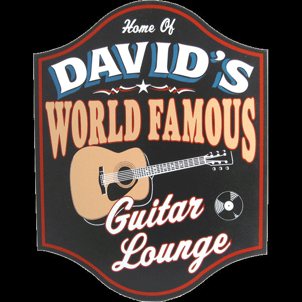 World Famous Guitar Lounge Personalized Wooden Sign - Rion Douglas Gifts