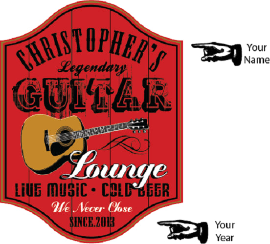Guitar Lounge Personalized Wooden Sign - Rion Douglas Gifts - 2