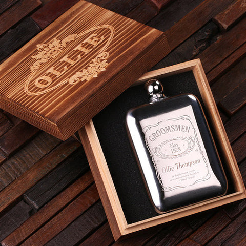 Personalized Stainless Steel Flask – 6 oz. with Wooden Gift Box - Rion Douglas Gifts - 1