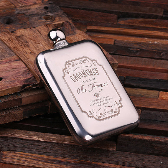 Personalized Stainless Steel Flask – 6 oz. with Wooden Gift Box - Rion Douglas Gifts - 2