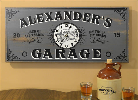 Personalized Garage Clock - Rion Douglas Gifts - 1