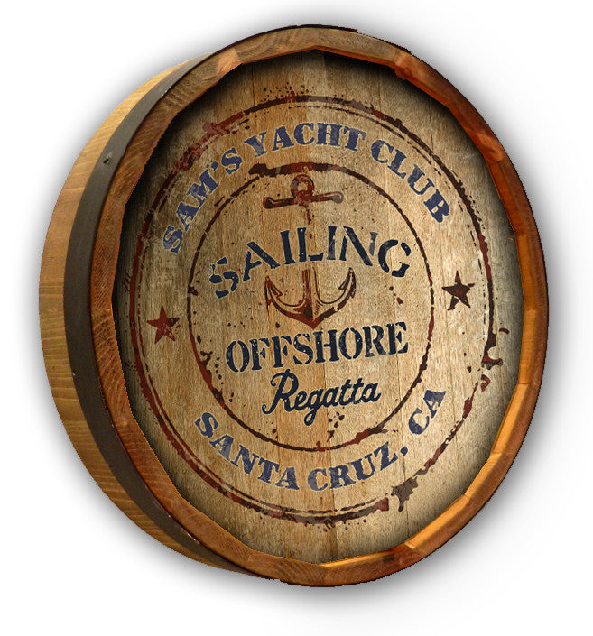 Yacht Club - Personalized Color Quarter Barrel Sign - Rion Douglas Gifts - 1