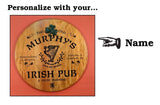 Irish Pub - Personalized Oak Barrel Head Sign with Shamrock Relief - Rion Douglas Gifts - 2