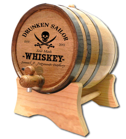 Drunkin Sailor Personalized Oak Barrel - Rion Douglas Gifts - 1
