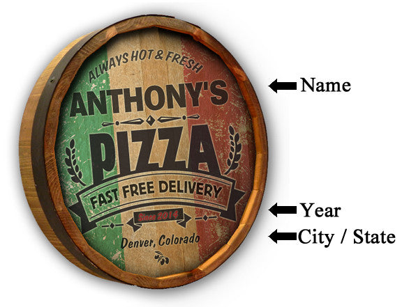 Pizza - Personalized Color Quarter Barrel Sign - Rion Douglas Gifts - 2